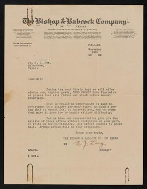Primary view of [Letter from E. J. Levy to C. C. Cox, November 29th, 1922]