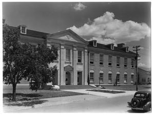 Primary view of object titled 'Exterior View of the Front of the Library at the North Texas State College'.