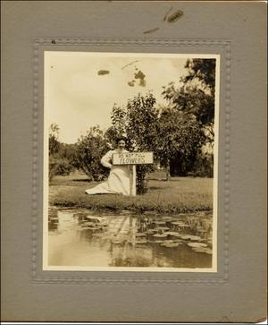 Primary view of object titled '[Woman in gardens at Texas State Hospital]'.