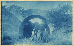 Primary view of object titled '[Three Men Under Bridge at Barton Creek]'.