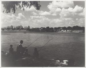 Primary view of object titled '[Man Fishing with Children]'.