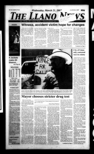 The Llano News (Llano, Tex.), Vol. 119, No. 25, Ed. 1 Wednesday, March 21, 2007