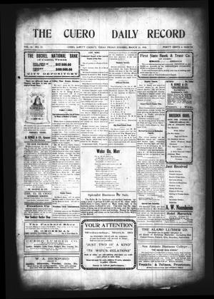 The Cuero Daily Record (Cuero, Tex.), Vol. 32, No. 72, Ed. 1 Friday, March 25, 1910