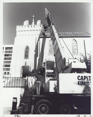 Primary view of Removing St. David's Bell Prior to Roof Repair