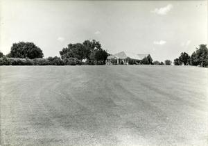 Primary view of object titled 'View [of club house] at Municipal Golf Course'.