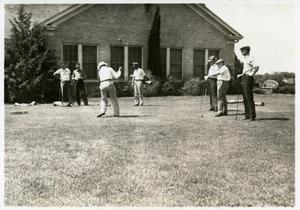 Primary view of object titled '[Golfers teeing off at Austin Municipal Golf Course]'.