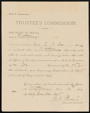 Primary view of object titled '[Certificate of Trusteeship for C. C. Cox, September 12, 1895]'.