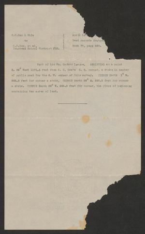 Primary view of object titled '[Land Deed for Montgomery County, School District 15]'.