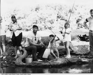 Primary view of object titled '[Young fishermen at Jourdan-Bachman Pioneer Farm]'.