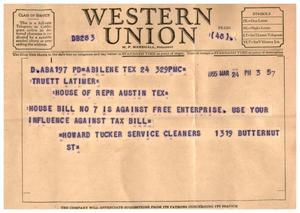 [Letter from Howard Tucker to Truett Latimer, March 24, 1955]
