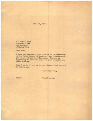 [Letter from Truett Latimer to Jack Tidwell, April 14, 1955]
