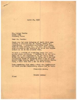 [Letter from Truett Latimer to George Yantis, April 21,1955]