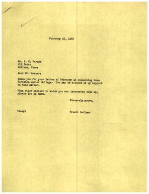 [Letter from Truett Latimer to R. W. Varner, February 23, 1955]