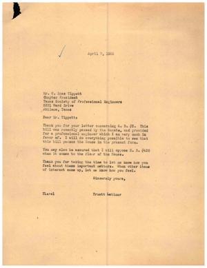 [Letter from Truett Latimer to C. Ross Tippett, April 7, 1955]
