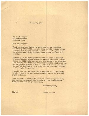 [Letter from Truett Latimer to D. F. Rodgers, March 25, 1955]