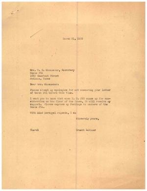 [Letter from Truett Latimer to Mrs. H. C. Shoemaker, March 31, 1955]