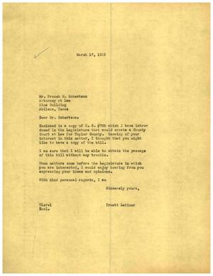 [Letter from Truett Latimer to French M. Robertson, March 17, 1955]