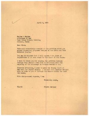 [Letter from Truett Latimer to Sayles & Sayles, April 4, 1955]