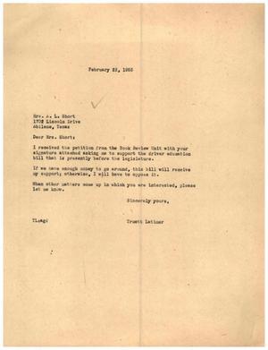 [Letter from Truett Latimer to Mrs. A. L. Short, February 22, 1955]