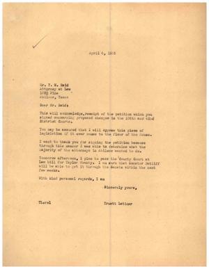 [Letter from Truett Latimer to T. M. Reid, April 4, 1955]