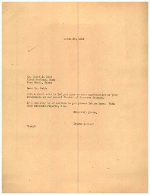 [Letter from Truett Latimer to James D. Reid, March 29, 1955]