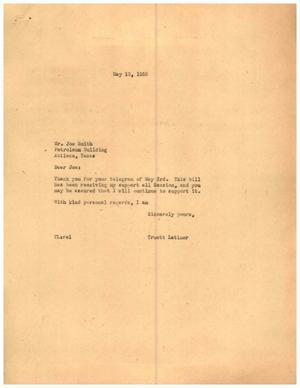[Letter from Truett Latimer to Joe Smith, May 10, 1955]