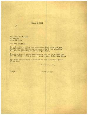 [Letter from Truett Latimer to Mrs. James M. Shelton, March 1, 1955]