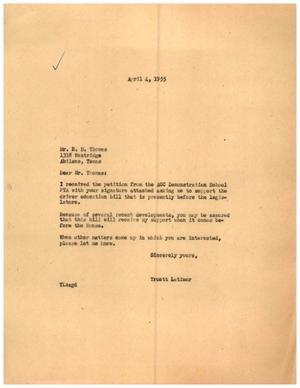 [Letter from Truett Latimer to E. D. Thomas, April 4, 1955]