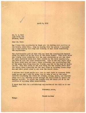 [Letter from Truett Latimer to W. M. York, April 6, 1955]
