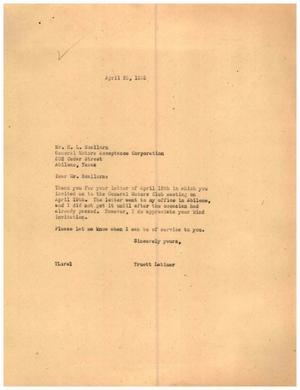 [Letter from Truett Latimer to H. L. Scallorn, April 25, 1955]