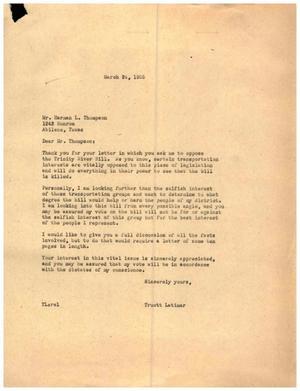 [Letter from Truett Latimer to Harman L. Thompson, March 24, 1955]