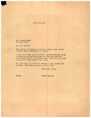 [Letter from Truett Latimer to George Taylor, April 19, 1955]
