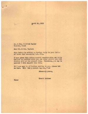 [Letter from Truett Latimer to Mr. and Mrs. Clifford Taylor, April 19, 1955]