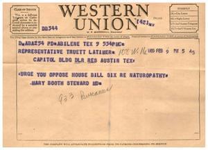 [Letter from Mary Booth Steward to Truett Latimer, February 9, 1955]