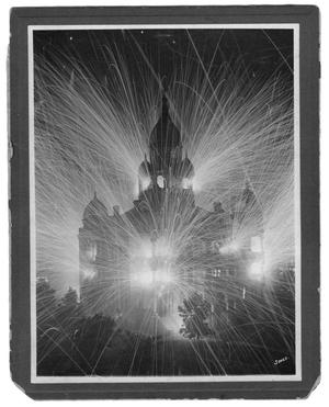 Primary view of object titled 'Fireworks at the Denton County Courthouse Celebrating the End of World War I'.