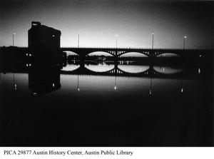 Primary view of object titled '[Congress Avenue bridge at night]'.