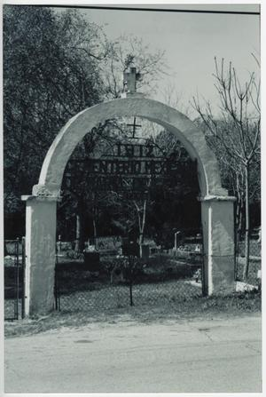 Primary view of object titled '[Gate of Maria de la Luz Cemetery]'.