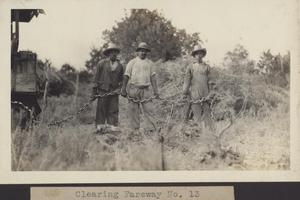 Primary view of object titled '[Workers clearing fairway number thirteen]'.
