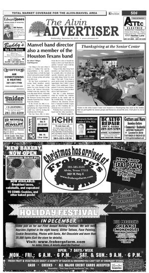 Primary view of The Alvin Advertiser (Alvin, Tex.), Ed. 1 Wednesday, November 30, 2016