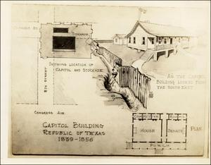 Primary view of object titled 'Drawing of the Capitol Building of the Republic of Texas'.