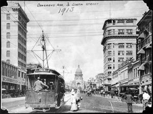 Primary view of object titled 'Congress Avenue with street rail'.