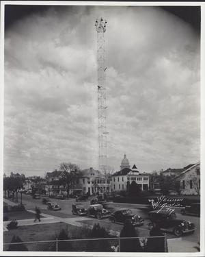 Primary view of object titled 'Moonlight Tower at 9th and Guadalupe'.