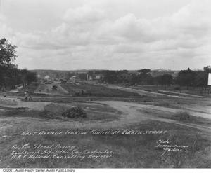Primary view of object titled 'East Avenue looking south at 8th St. during paving project'.