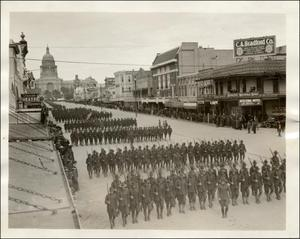 Primary view of object titled 'Armistice parade down Congress from Capitol'.