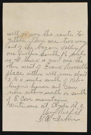 [Letter from T. A. Irvin]