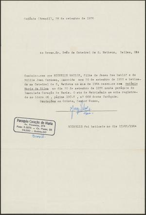 [Letter to St. Matthew's Cathedral in Dallas, September 28, 1976]