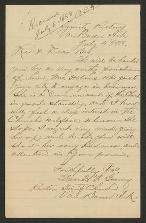 [Letter from Rector of Trinity Church in Arkensas, July 4, 1888]