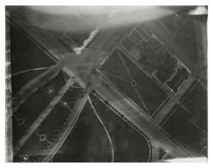 Primary view of object titled '[Aerial view of Capitol grounds and governor's mansion]'.