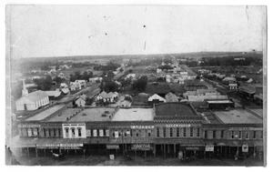 Primary view of object titled '[Aerial View of West Side of the Denton Square]'.