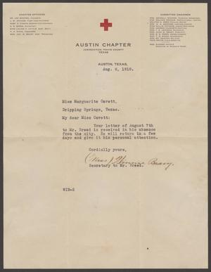 [Letter from Miss Bracy to Miss Marguerite Cavett, August 8, 1918]